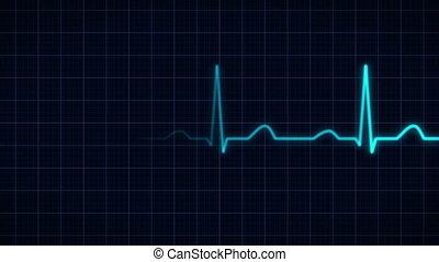 heartbeat curve animation - animation of a blue heartbeat...