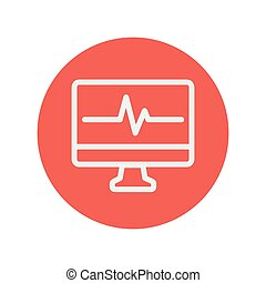 Heartbeat display in monitor thin line icon