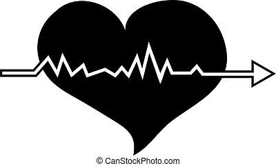Heartbeat - Simple but bold black and white illustration of...