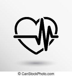 heartbeat., echocardiography., cardíaco, examen, forma,...