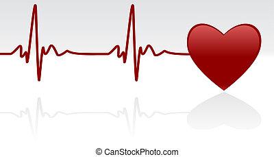 Heartbeat - Editable vector background - heart and heartbeat...