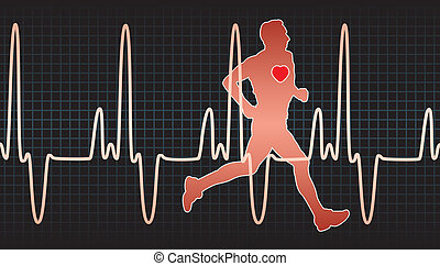 heartbeat electrocardiogram and running man