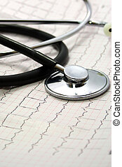heartbeat - electrocardiogram with a stethoscope