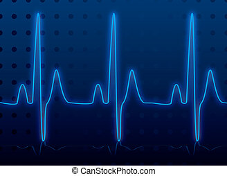 heartbeat glow - Medical heatbeat monitor in blue and black...