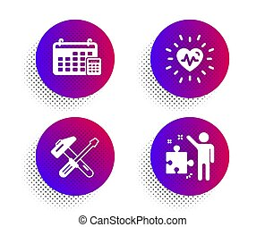 Heartbeat, Hammer tool and Calendar icons set. Strategy sign. Vector