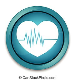 Heartbeat icon, button sign illustration