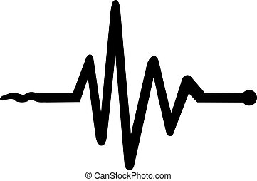 Heartbeat icon with start and end