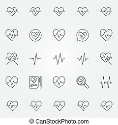 Heartbeat icons set - vector cardiac cycle line signs