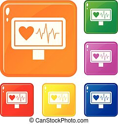 Heartbeat icons set vector color