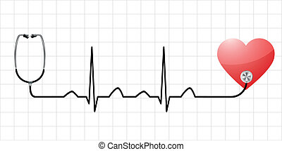 heartbeat - illustration of a sinus curve as a symbol for...
