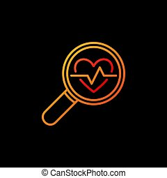 Heartbeat in yellow magnifying glass vector colored icon