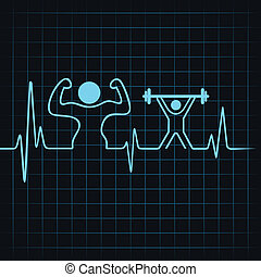 heartbeat make a body builder and weight lifting man stock...
