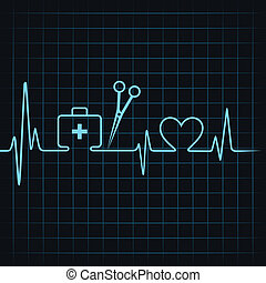 Heartbeat make a first aid box, scissor, and heart symbol ...