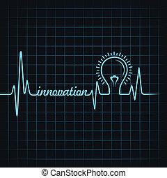 heartbeat make innovation word and light-bulb stock vector
