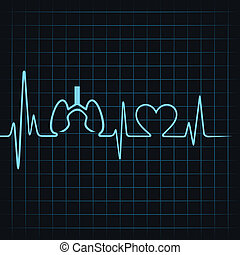 Heartbeat make lungs and heart symbol stock vector