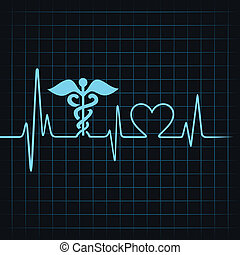 Heartbeat make medical and heart symbol stock vector