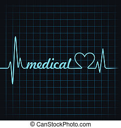 heartbeat make medical text and heart symbol stock vector
