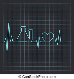 Heartbeat make test-tube and heart - Heartbeat make testtube...