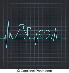 Heartbeat make test-tube and heart - Heartbeat make testtube...