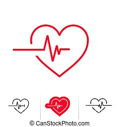 Heartbeat or heart beat pulse outline icon