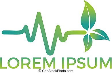 Heartbeat pulse line vegan with green leaves vector design.