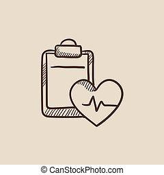 Heartbeat record sketch icon.