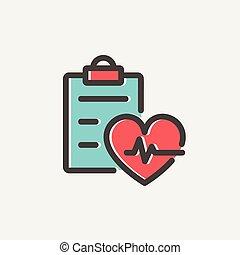 Heartbeat record thin line icon - Heartbeat record icon thin...
