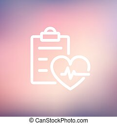 Heartbeat record thin line icon