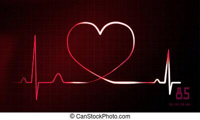 heartbeat red of EKG monitor - heartbeat graphic of EKG...