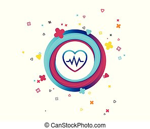 Heartbeat sign icon. Cardiogram symbol. Colorful button with...