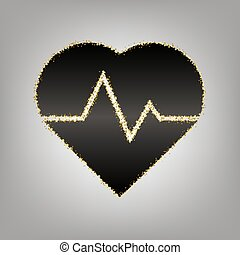 Heartbeat sign illustration. Vector. Blackish icon with...