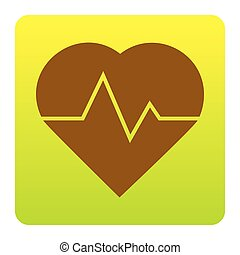 Heartbeat sign illustration. Vector. Brown icon at green-yellow gradient square with rounded corners on white background. Isolated.