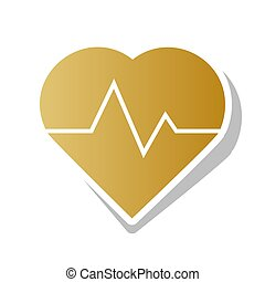 Heartbeat sign illustration. Vector. Golden gradient icon...