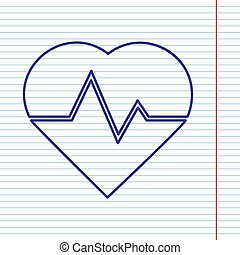 Heartbeat sign illustration. Vector. Navy line icon on notebook paper as background with red line for field.