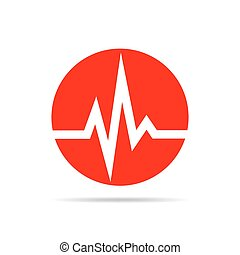 Heartbeat sign in the circle. Vector illustration.