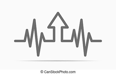 Heartbeat sign with arrow up. Vector illustration.
