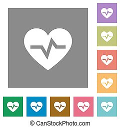 Heartbeat square flat icons