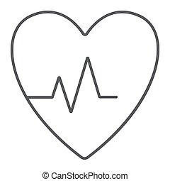 Heartbeat thin line icon, cardiogram and heart, pulse sign, vector graphics, a linear pattern on a white background.