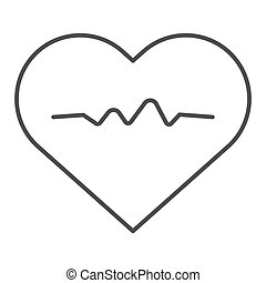 Heartbeat thin line icon. Cardiogram vector illustration isolated on white. Heart pulse outline style design, designed for web and app. Eps 10.
