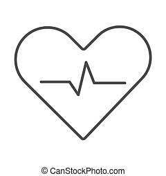Heartbeat thin line icon, Cardiology concept, Cardiogram sign on white background, heart with heartbeat pulse icon in outline style for mobile concept and web design. Vector graphics.