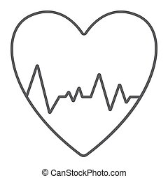 Heartbeat thin line icon, ecg and cardiology, heart cardiogram sign, vector graphics, a linear pattern on a white background.