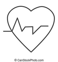 Heartbeat thin line icon. Heart with pulse, electrocardiogram symbol, outline style pictogram on white background. Cardiology and medicine sign for mobile concept and web design. Vector graphics.