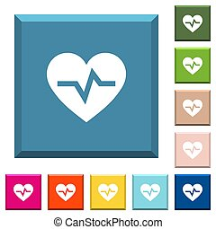 Heartbeat white icons on edged square buttons
