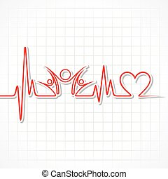 Heartbeat with a unity symbol