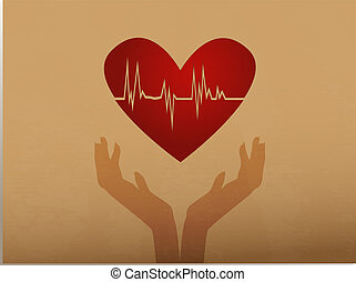 Heartbeat/Silhouette of hands holding heart with ecg inside on old paper background