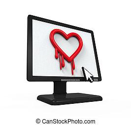 Heartbleed Bug in Computer Screen