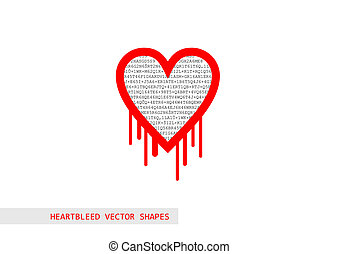 Red heartbleed openssl bug vector shape filled with text
