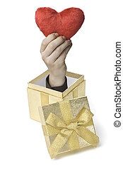 Heartbox - Eine Hand komt aus einer Geschenkebox heraus