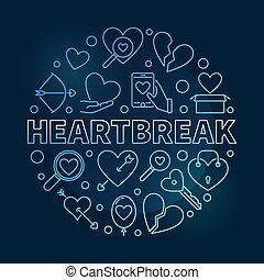 Heartbreak vector round blue outline illustration