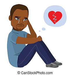Heartbroken Black Man Crying